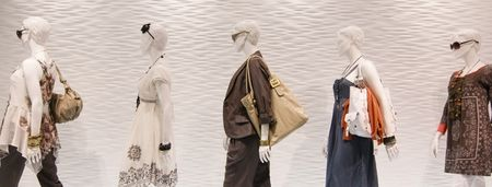 shop window: Fashion mannequins in window