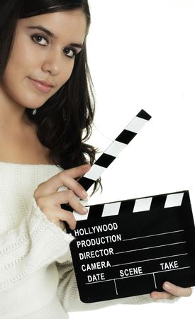 Action, young woman holding movie clapper board photo