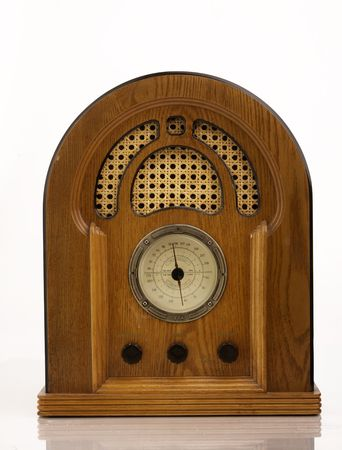 audio equipment: A vintage radio on white background.