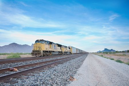 diesel train: Railroad locomotive travelling across Arizona Stock Photo