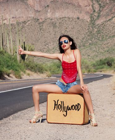 sexy leg: Beautiful young woman hitching a ride to Hollywood, USA
