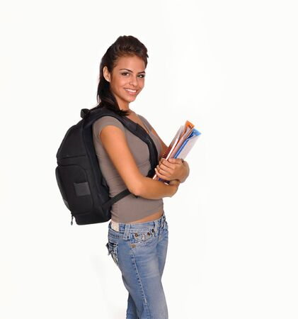 blue back: Attractive young woman going back to college