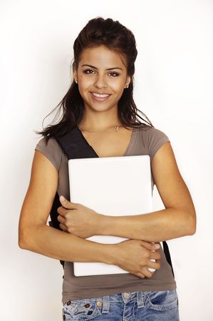 to go: Attractive young woman holding laptop computer