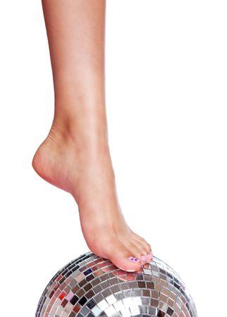 Foot on disco Ball