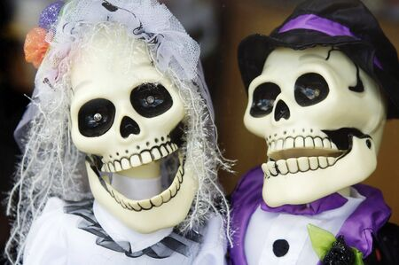 Silly scary funny Halloween skull married couple photo