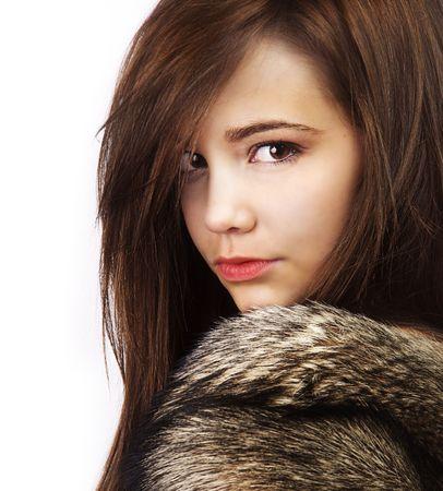 eskimo woman: Fur coat young woman