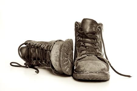 pieds sales: Bottes de mens vieux accident�