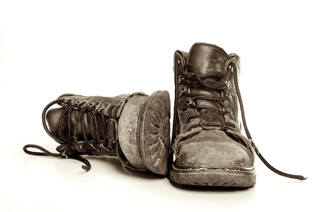 hiking boots: Rugged old mens boots