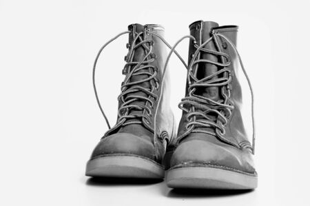 Rugged old mens boots Stock Photo - 9405682
