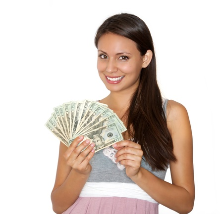 amount: smiling beautiful woman holding large amount of cash Stock Photo