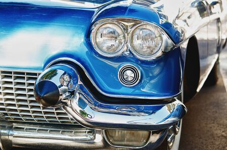 car grill: Vintage American classic car Stock Photo