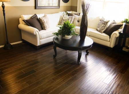 Hardwood floor in living room photo