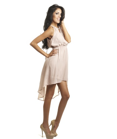 legs heels: Full length photo of beautiful woman wearing dress Stock Photo