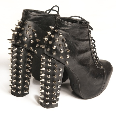 steel toe boots: High fashion stud spiky ladies boot shoe