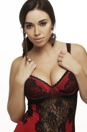 boob: Beautiful sexy seductive woman in lingerie