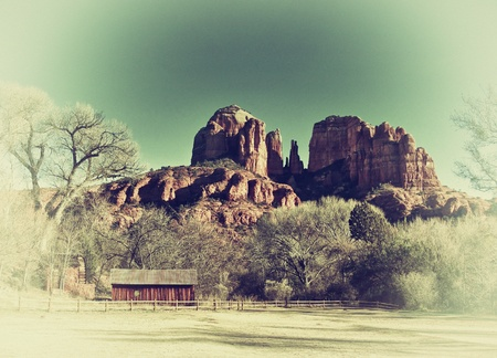 arizona landscape: Retro faded postcard style image of Sedona,Arizona