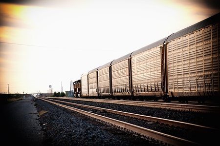 boxcar train: Freight train travelling through America