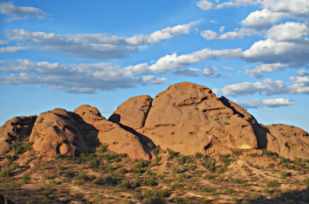 arizona sunset: Sandstone buttes at Papago Park in Phoenix Arizona