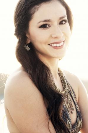 latina girl: Summer boho style fashion model with smile Stock Photo