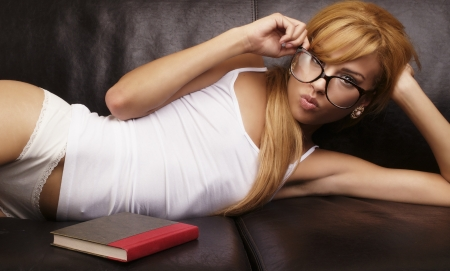 Student sexy nerd girl with book Stock Photo - 16443995