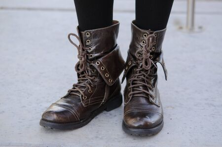 chic woman: Military chic woman s leather boots