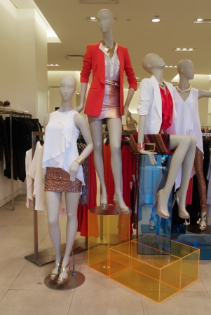 Fashion boutique with dressed mannequins