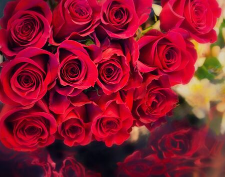 crosshatch: Big bunch bouquet of beautiful red roses rendered in artistic crosshatch style Stock Photo