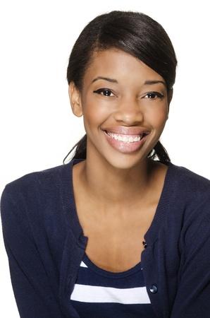 by shot: Beautiful young woman smiling