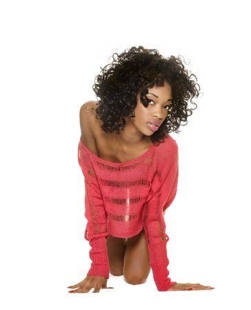 african american nude: Sexy beautiful slim young exotic woman Stock Photo