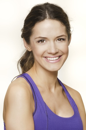 undressed: Pretty woman smiling wearing gym clothes