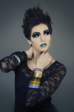 Beautiful fashion model with short stylish hair  Stock Photo