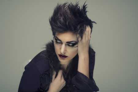 Beautiful goth style hair model photo