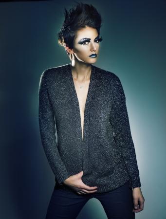 Beautiful fashion model with short stylish hair