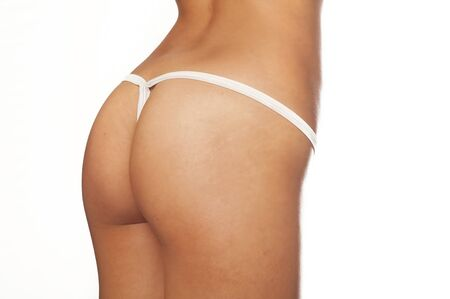 thong woman: Sexy back of woman wearing g-string thong bikini