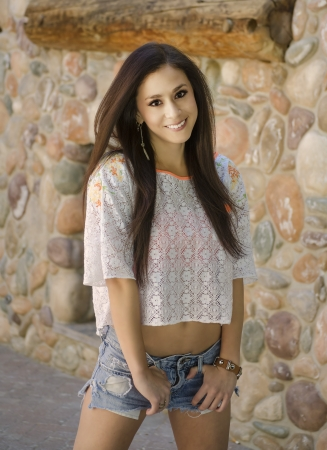 Attractive young woman in casual clothing