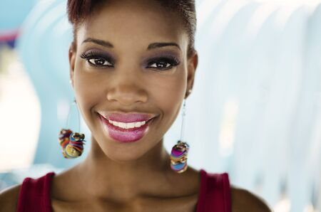 Friendly welcoming happy smile of African woman Stock Photo - 19293467