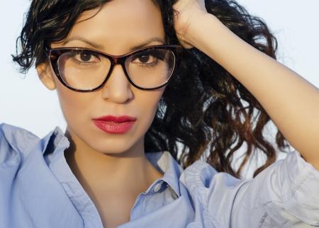 native american woman: Beautiful woman wearing eye glasses