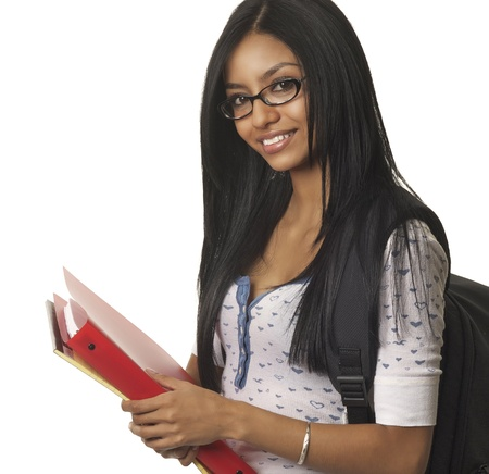 latina girl: Smiling happy positive successful student