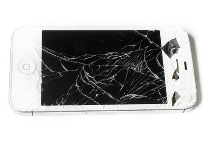 personal data: Broken glass on smart phone