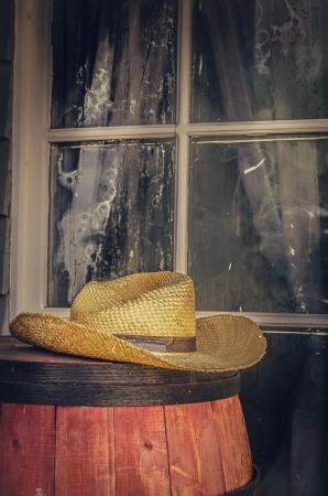 country western: Cowboy hat outside saloon