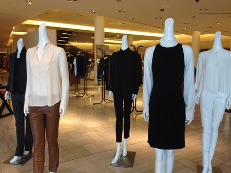 Fashion mannequins in department store.