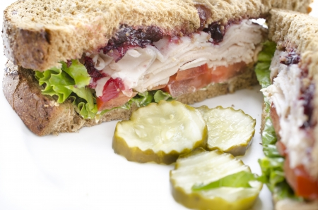 Close up photo of turkey sandwich on a plate photo