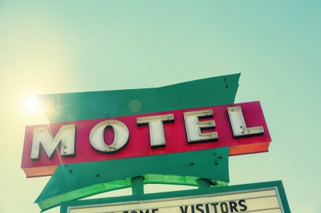 Road side route 66 motel sign south west USA