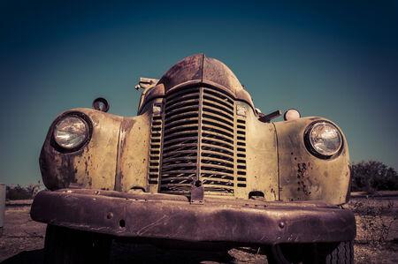 rusty car: Old abandoned vintage car