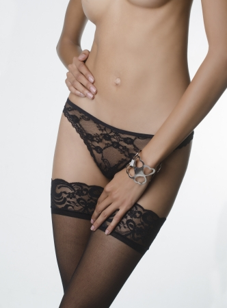 Woman wearing stockings and panties photo
