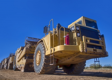 yellow earth: Industrial earth moving construction bulldozer Stock Photo