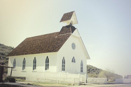 Old Pioneer style wood church in America, USA