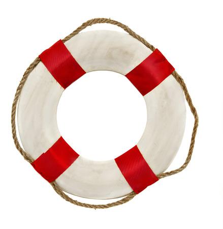 Red lifesaver lifebuoy life belt isolated on white background photo