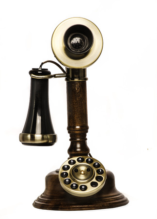 antique phone: Retro vintage old telephone phone Stock Photo