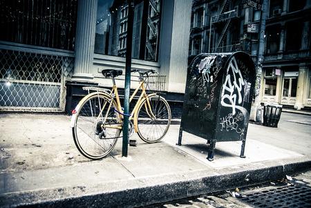 old new york: New York City street scene - soho area -bike Stock Photo